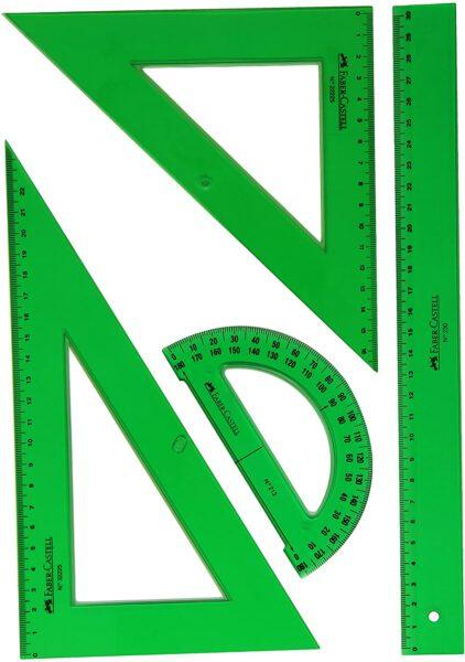 Faber Castell: escuadra, cartabón, regla y semicírculo